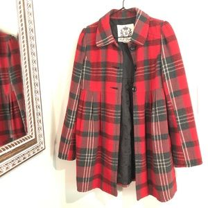 BB Dakota Red & Black Plaid Coat